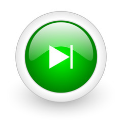 next green circle glossy web icon on white background