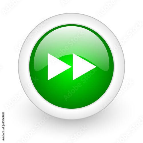 scroll green circle glossy web icon on white background