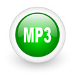 mp3 green circle glossy web icon on white background