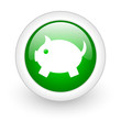 piggy bank green circle glossy web icon on white background