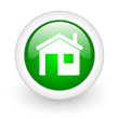home green circle glossy web icon on white background