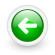 arrow left green circle glossy web icon on white background