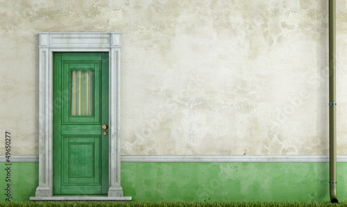 Grunge house facade with front door
