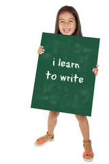 child with message i learn to write
