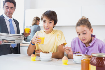 Family at breakfast time