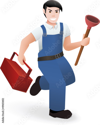 Plumber with his tools, runs