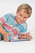 Happy boy using a tablet