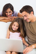 Family using the laptop