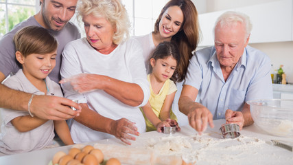 Multi-generation family baking together