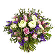 bouquet of pink, white and violet flowers isolated on white
