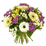 Fototapety bouquet of yellow and pink flowers isolated on white