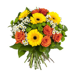 bouquet of yellow and orange flowers isolated on white