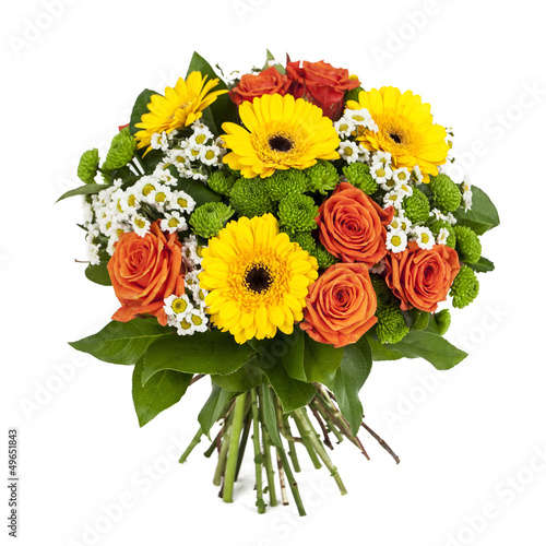 canvas print picture bouquet of yellow and orange flowers isolated on white