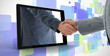 Businessman reaching out from tablet and shaking hands with othe