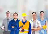 Smiling people with different jobs standing arms folded in line