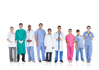 Happy medical team standing in line