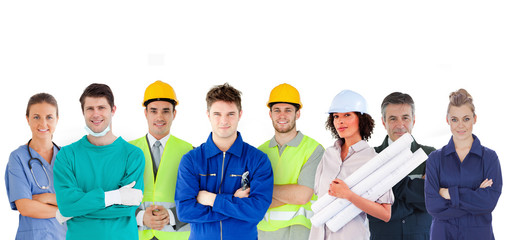 Group of people with different jobs standing in line