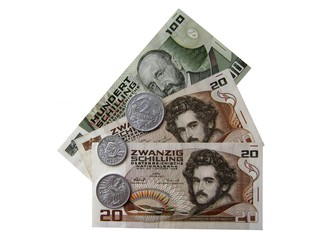 Австрийский деньги конца 20-го века.