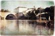 Gabare sur la Dordogne à Bergerac, style vintage
