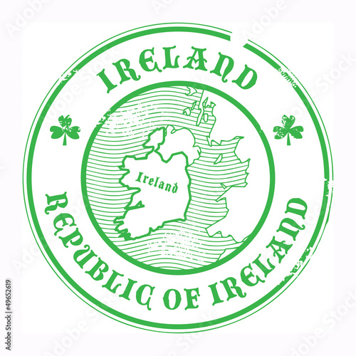 Grunge rubber stamp with the name and map of Ireland, vector