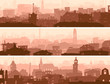 Abstract horizontal banner of town roofs.