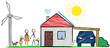 Familie mit Solardach, Windrad und Elektroauto