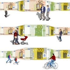 Gente paseando frente a un fondo de billetes