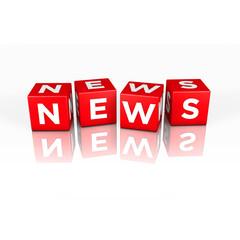 3D Grafik: News Wort aus Würfel mit der Schrift
