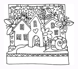 Houses and garden - spring, hand drawn illustration