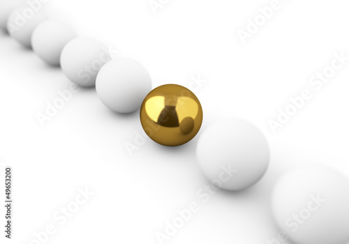 One golden ball among white ones concept image.