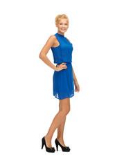 lovely teenage girl in blue dress