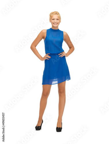lovely teenage girl in blue dress
