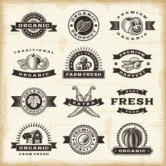 Vintage organic harvest stamps set
