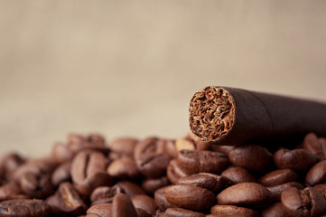 cigar and coffee beans