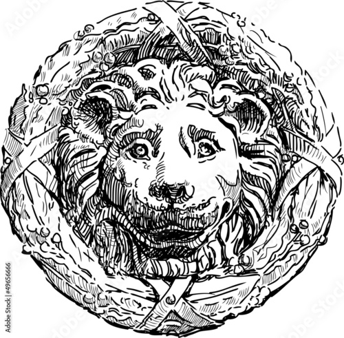 bas-relief of a lion's head - 49656666