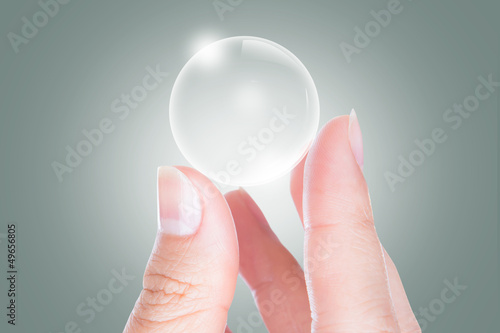 Woman hands hold empty bubble