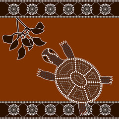 illu.based on aboriginal style of dot painting:turtle