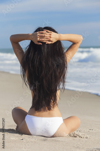 Sexy Woman Girl Sitting in Bikini on Beach