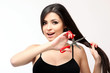 Sensual girl playing with scissors