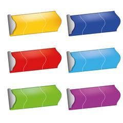 Preisschilder in Farbe, Geld, Rot, Grün, Blau, Türkis, Lila