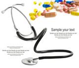 stethoscope and pills isolated