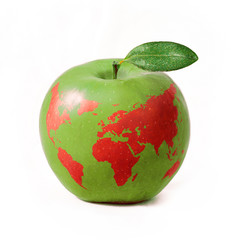 green apple with red world map, isolated on white background