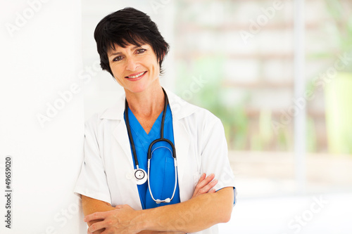 pretty female middle aged hospital worker portrait