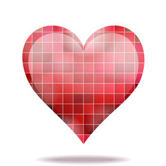 Abstract scarlet mosaic 3D heart icon