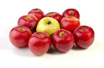 A bunch of appetizing apples isolated over white