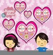 Cute girl and boy characters with hearts background