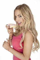Woman enjoying a cookie
