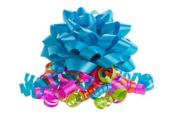 Blue bow and curly ribbons