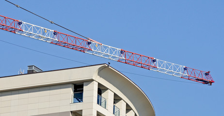 building with crane