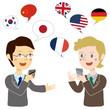 翻訳アプリで会話をするビジネスマン